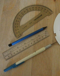 Ruler and protractor for precise marking and craft knife for precise cutting